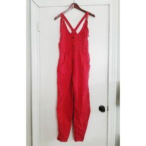Vintage red striped Lee overalls